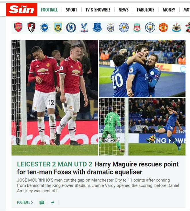"""MU mất điểm phút 94: Báo chí Anh thương Mourinho """"Giáng sinh khốn khổ"""" 4"""