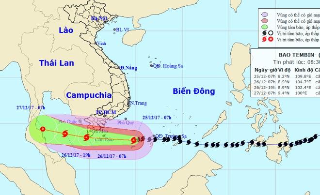 """Bản tin bão 10h: Bão Tembin gió giật """"điên cuồng"""" đang tiến về đất liền Tây Nam Bộ"""