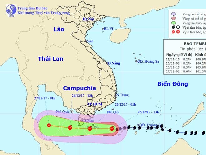 Bản tin bão 15h: Bão Tembin giật cấp 13 vào gần bờ, Nam Bộ đang mưa to nhiều nơi - 1