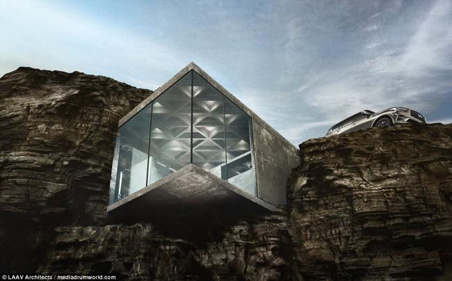Ngôi nhà nằm chìa ra ngoài vách đá khiến người xem không khỏi