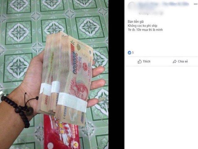 Ngang nhiên rao bán tiền giả trên Facebook dịp giáp Tết