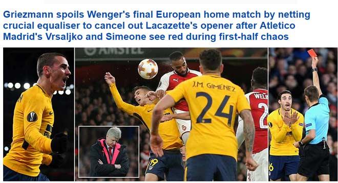 """Arsenal """"rơi vàng"""" trước Atletico: Báo Anh chê """"ngây thơ như ngày nào"""""""