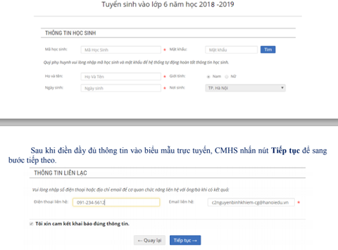 Hướng dẫn cách đăng ký thử nghiệm tuyển sinh trực tuyến vào lớp 6 tại Hà Nội - 3