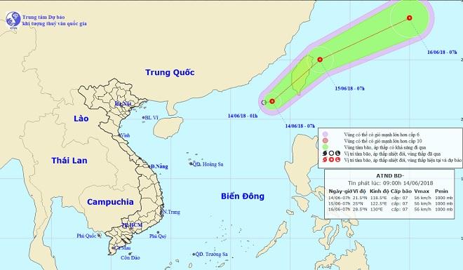 Xuất hiện áp thấp nhiệt đới giật cấp 9 trên Biển Đông - 1