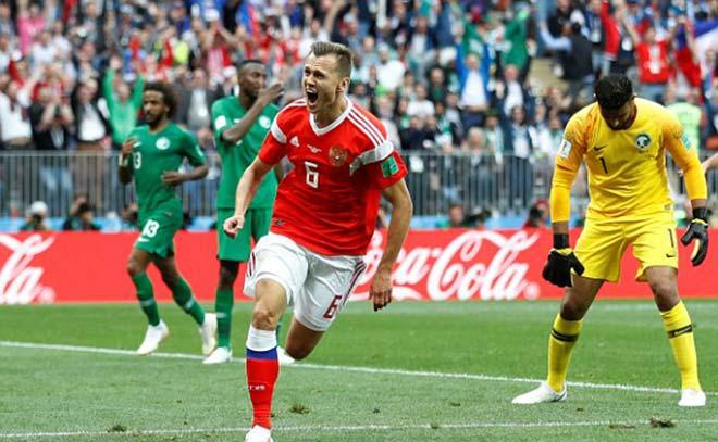 Dự bị Cheryshev giúp Nga dẫn 2-0 sau hiệp 1