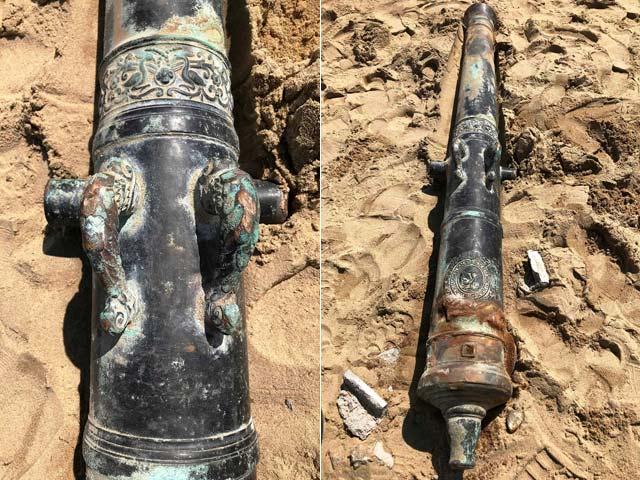 Phát hiện súng thần công triều Nguyễn khi đào đất làm kè