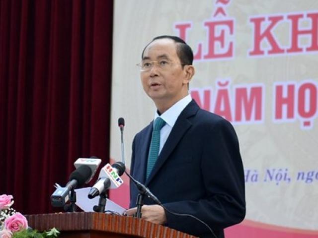 Ngôi trường lần cuối Chủ tịch nước Trần Đại Quang đánh trống khai giảng