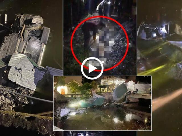 Xe Mercedes lao xuống kênh, tài xế tử vong trong xe